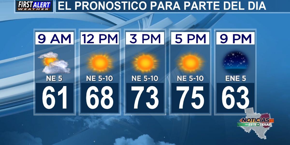 Pronóstico del jueves: Las nubes de la mañana dan paso al sol esta tarde.