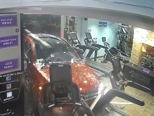 'It wasn't my time': Man on treadmill narrowly avoids car crashing into gym