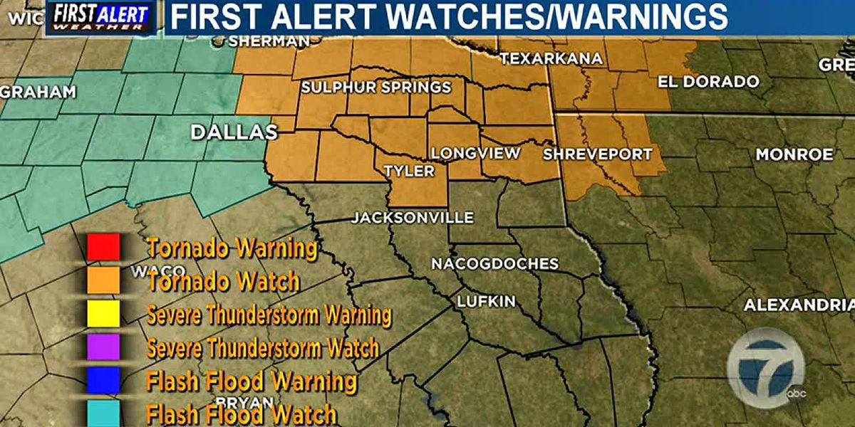 Tormentas severas son posibles esta noche, aviso de Tornado emitido