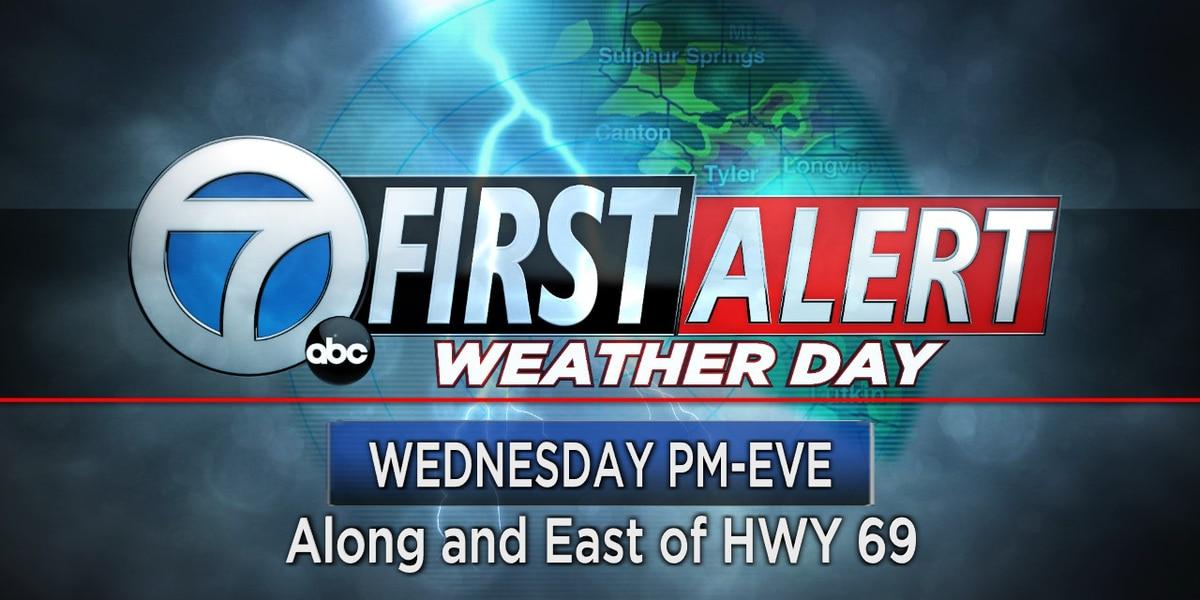 Primera Alerta Meteorológica: Miércoles por la tarde, temprano en la noche para todas las áreas a lo largo y al este de la carretera 69.
