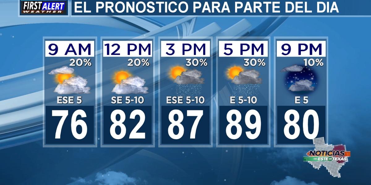 Pronóstico del miercoles: Hay una pequeña probabilidad de lluvia.