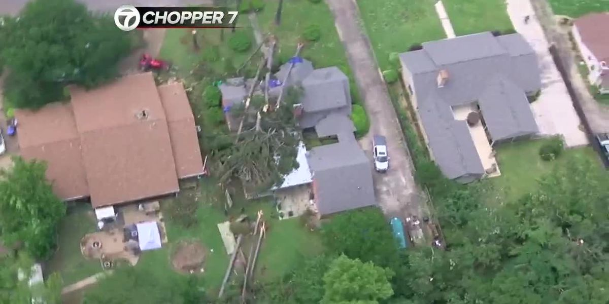 Chopper 7 gives aerial view of Longview storm damage